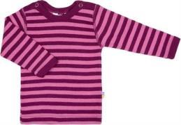 Uld trøje fra Joha - Block Stripe - Fuchsia/Bordeaux