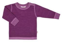 Uld trøje fra Joha - Bordeaux melange m. fuchsia