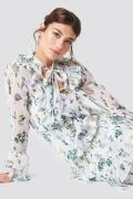 NA-KD Boho Tie Waist Ruffle Maxi Dress - White,Multicolor