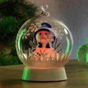 Glaskugle Snemand LED-dekorationslampe
