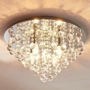 Funklende loftlampe Annica med kromplade