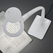 Med fod - LED-forstørrelseslys Lupo, hvid
