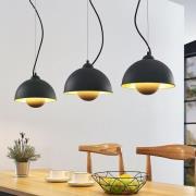 Gretja hængelampe, 3 lyskilder, sort guld