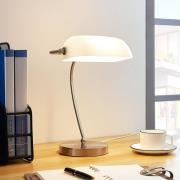 Banklampe Selea med hvid glasskærm