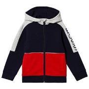 BOSS Navy and Red Contrast BOSS Sleeve Full Zip Hoodie 4 years