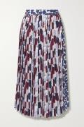 Prada - Pleated Printed Crepe Midi Skirt - Ivory