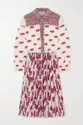Prada - Belted Pleated Printed Crepe De Chine Midi Dress - Red