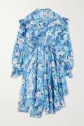 Balenciaga - Asymmetric Ruffled Floral-print Silk-satin Dress - Blue