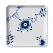 Musselmalet mega blå kvadratisk tallerken 20x20 cm